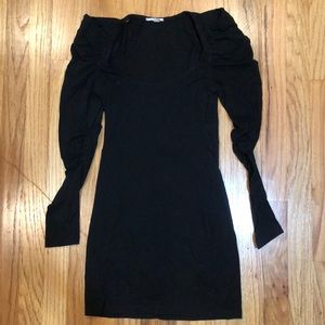NWOT Black bodycon dress with rouching